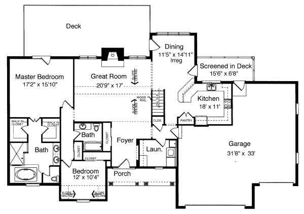 Cottage Floor Plan - Main Floor Plan Plan #46-402