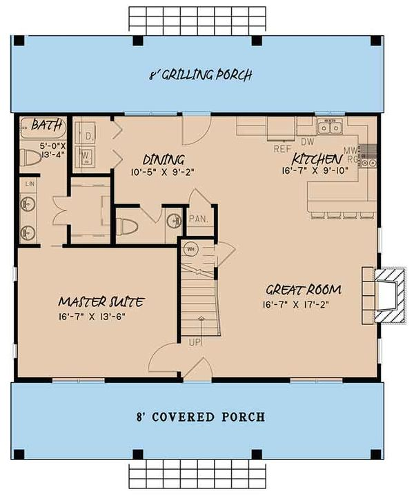 Country Floor Plan - Main Floor Plan Plan #17-3413