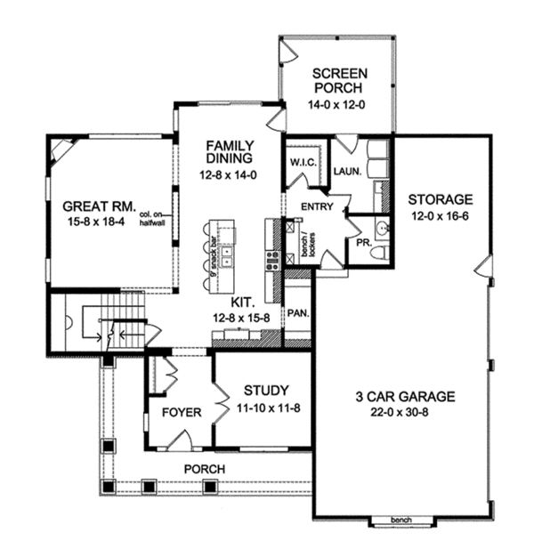 Architectural House Design - Traditional Floor Plan - Main Floor Plan #1010-134
