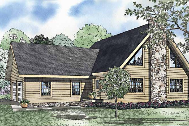 Log Exterior - Front Elevation Plan #17-3232