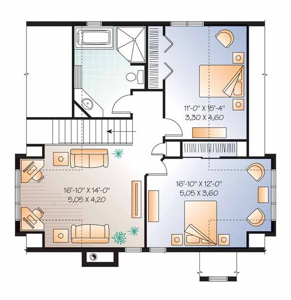 European Floor Plan - Upper Floor Plan Plan #23-2513