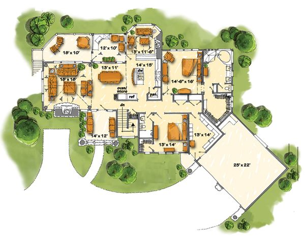 Country Floor Plan - Main Floor Plan Plan #942-29