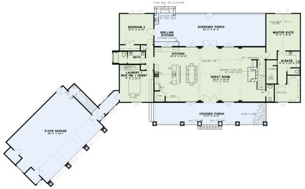 Dream House Plan - Craftsman Floor Plan - Main Floor Plan #17-3419