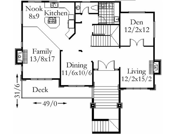 Modern Floor Plan - Main Floor Plan Plan #509-49