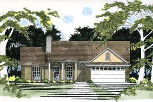 Ranch Exterior - Front Elevation Plan #472-125