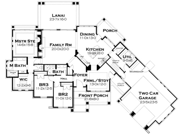 Craftsman Floor Plan - Main Floor Plan Plan #120-246