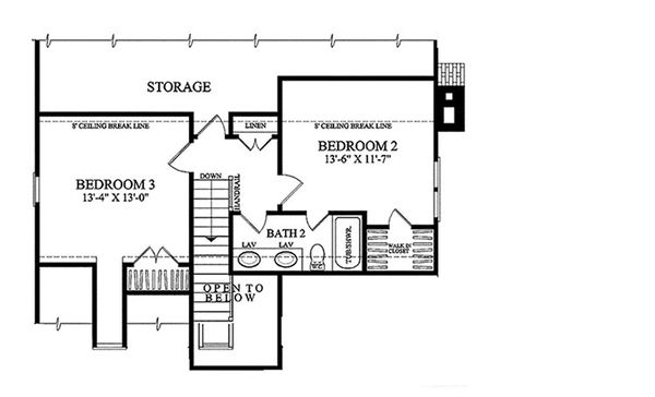 Traditional Floor Plan - Upper Floor Plan Plan #137-263