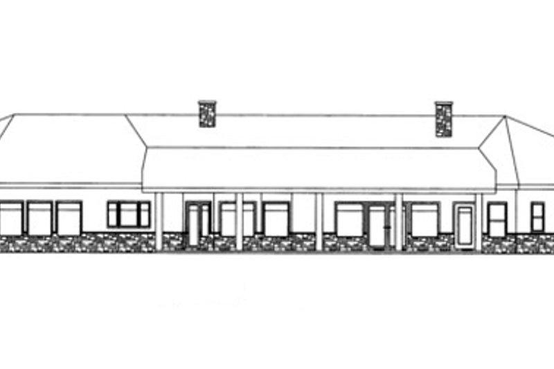 Adobe / Southwestern Exterior - Rear Elevation Plan #117-832 - Houseplans.com