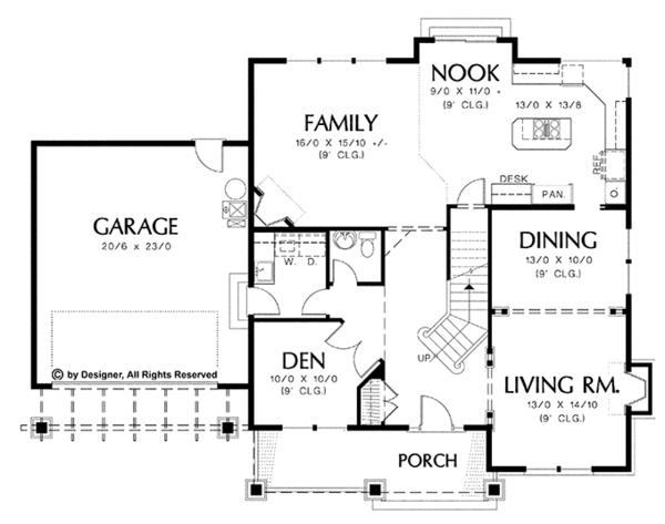Dream House Plan - Craftsman Floor Plan - Main Floor Plan #48-801