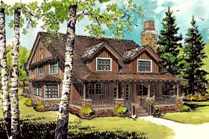 Architectural House Design - Cabin Exterior - Front Elevation Plan #942-33