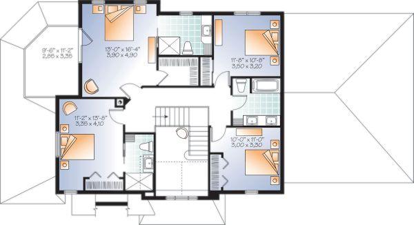 Craftsman Floor Plan - Upper Floor Plan Plan #23-2707