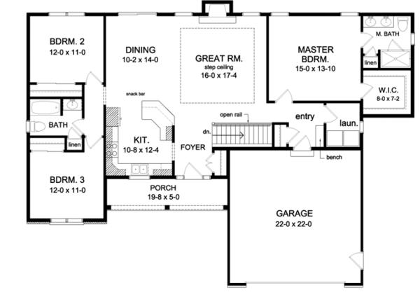 Ranch Floor Plan - Main Floor Plan Plan #1010-70