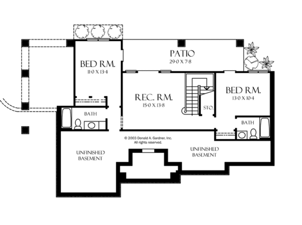 European Floor Plan - Lower Floor Plan #929-891