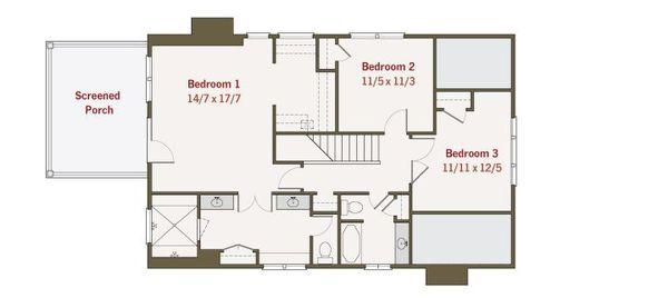 Craftsman Style House Plan - 4 Beds 3 Baths 2680 Sq/Ft Plan #461-36 Floor Plan - Upper Floor Plan