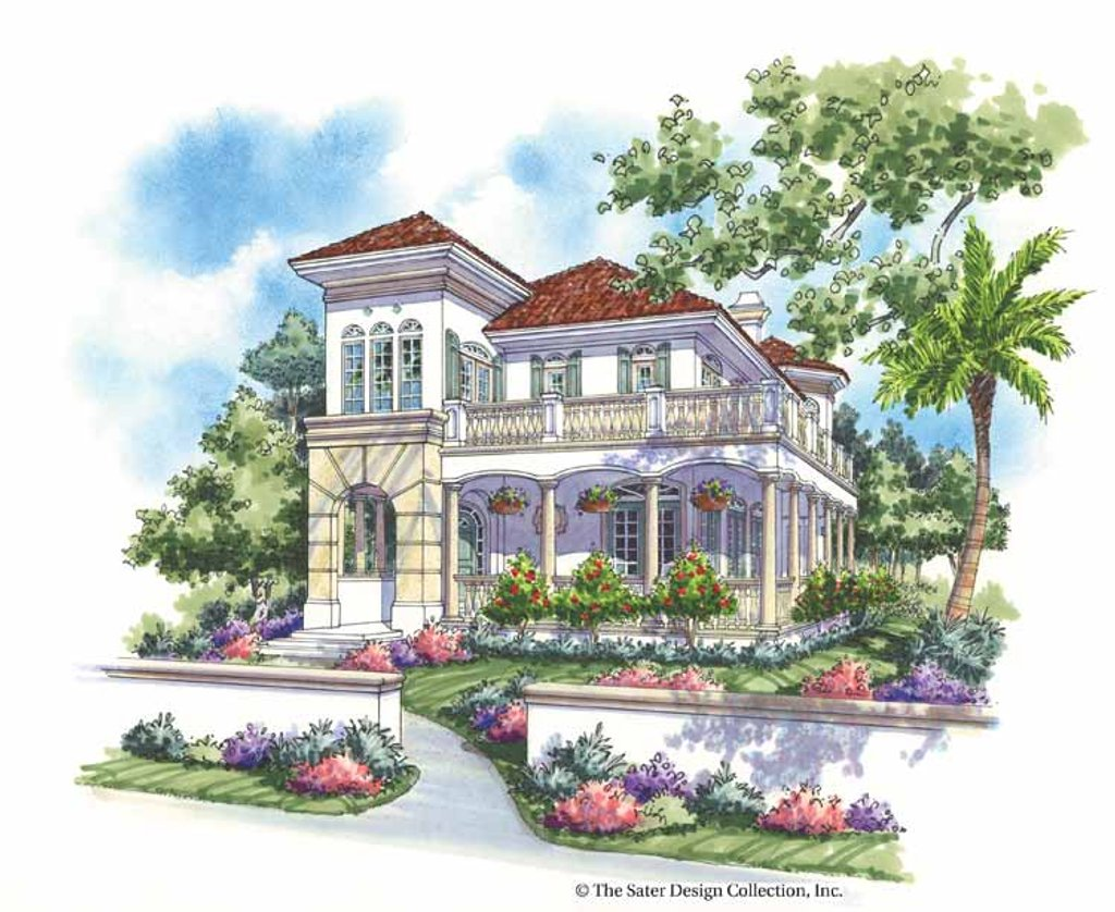 The Sater Design Collection mediterranean style house plan - 3 beds 2.5 baths 2650 sq/ft plan #930-139