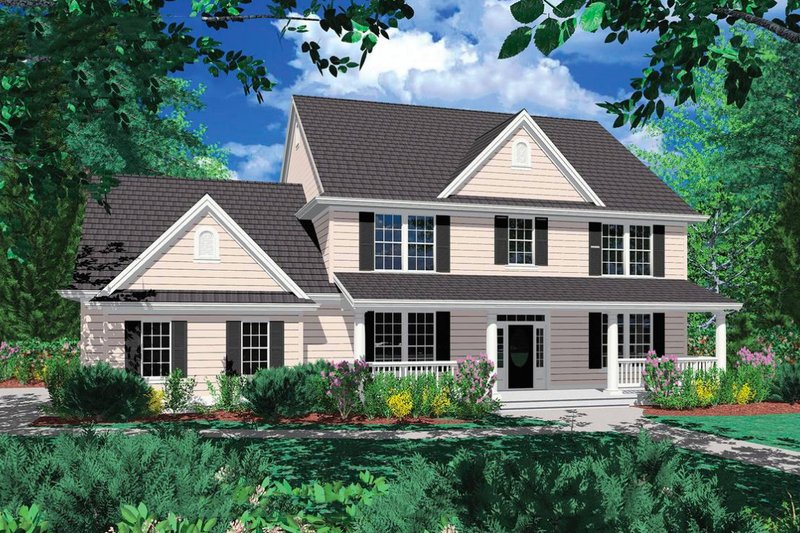 Country Exterior - Front Elevation Plan #48-183