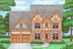 Tudor Exterior - Front Elevation Plan #413-877