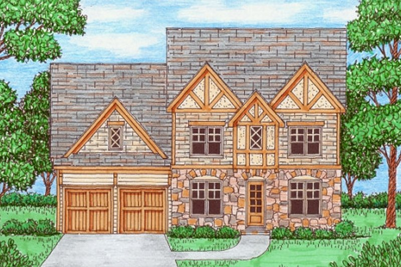 Tudor Style House Plan - 4 Beds 3 Baths 2919 Sq/Ft Plan #413-877