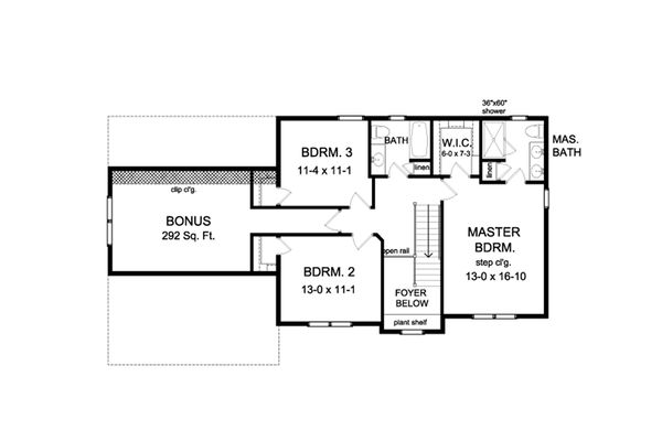 Colonial Floor Plan - Upper Floor Plan Plan #1010-210