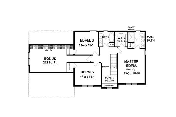 Colonial Floor Plan - Upper Floor Plan #1010-210