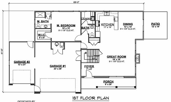 Country Floor Plan - Main Floor Plan #1064-73