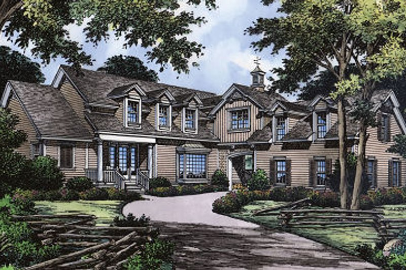 Country Style House Plan - 4 Beds 3.5 Baths 2307 Sq/Ft Plan #417-231 Exterior - Front Elevation