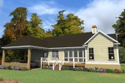Southern Style House Plan - 3 Beds 2 Baths 1978 Sq/Ft Plan #63-405 Exterior - Rear Elevation