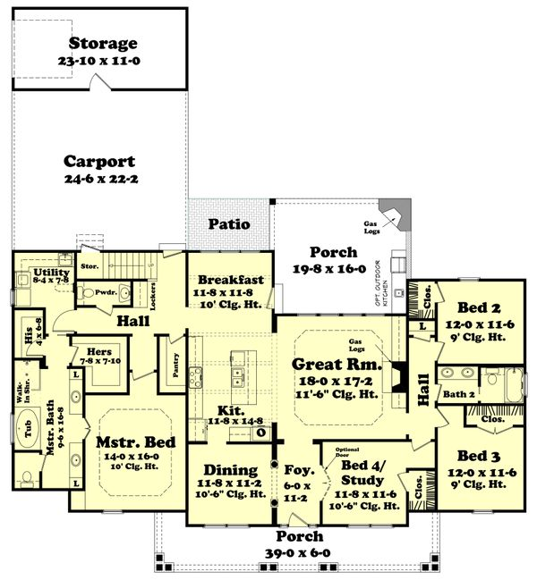 Country Floor Plan - Main Floor Plan Plan #430-113