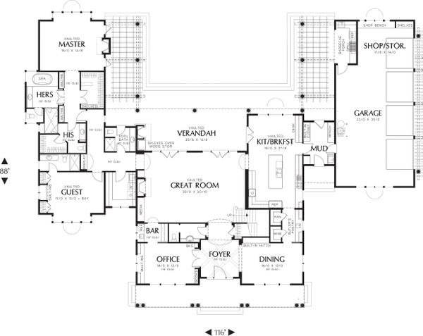 Country Floor Plan - Main Floor Plan Plan #48-237