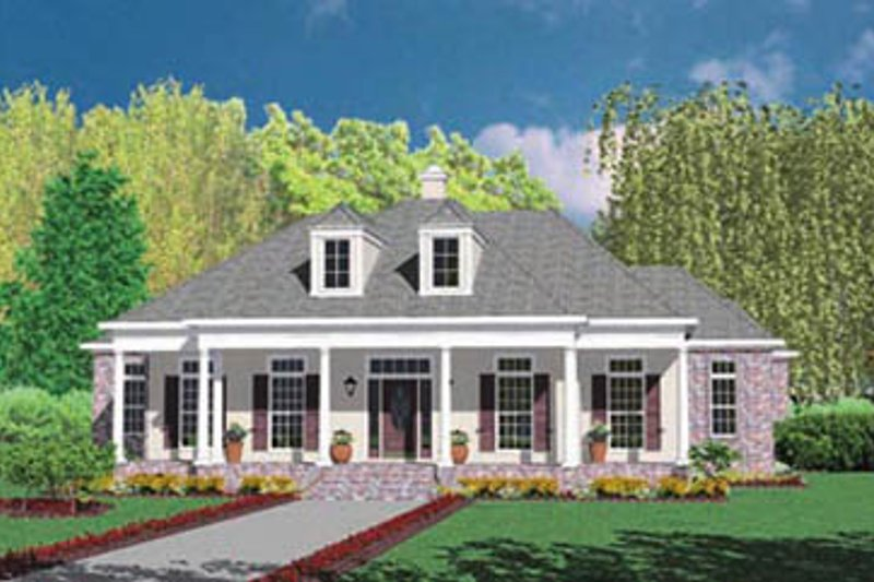 Southern Exterior - Front Elevation Plan #36-229