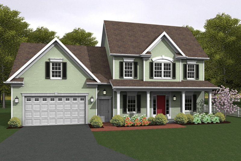 Colonial Exterior - Front Elevation Plan #1010-82