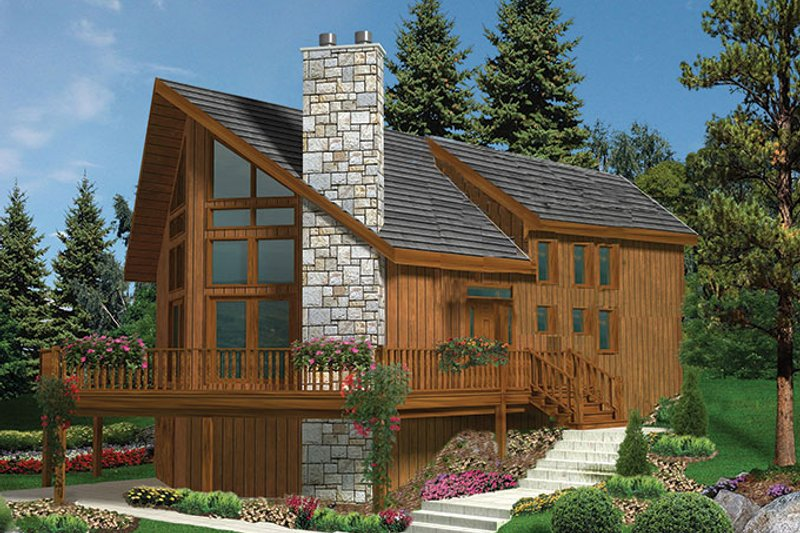 European Style House Plan - 3 Beds 2 Baths 1721 Sq/Ft Plan #3-279 Exterior - Front Elevation