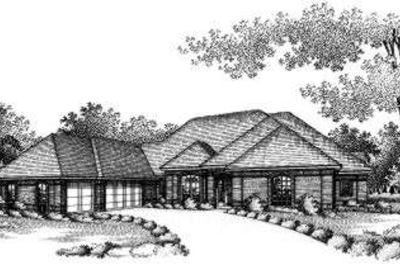 Traditional Style House Plan - 4 Beds 3 Baths 3140 Sq/Ft Plan #310-173 Exterior - Front Elevation