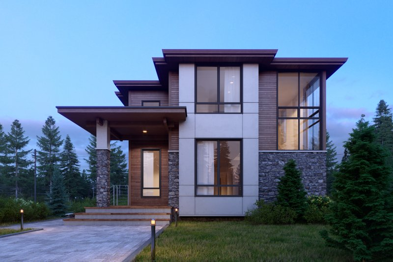 Architectural House Design - Contemporary Exterior - Front Elevation Plan #1066-33