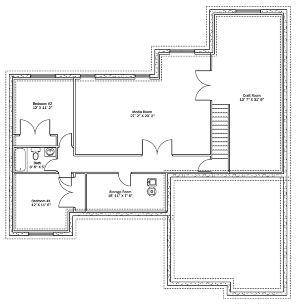 Ranch Floor Plan - Lower Floor Plan Plan #1060-10