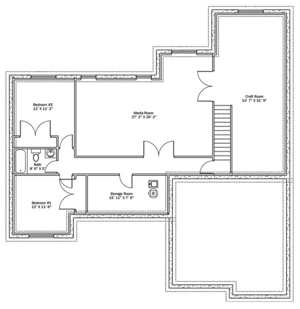 House Plan Design - Ranch Floor Plan - Lower Floor Plan #1060-10