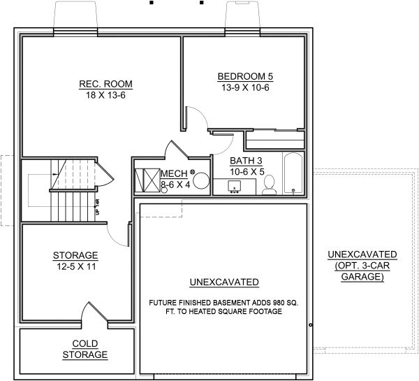 Traditional Floor Plan - Lower Floor Plan Plan #1073-9