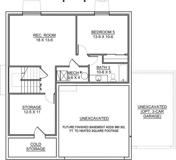 Traditional Floor Plan - Lower Floor Plan #1073-9