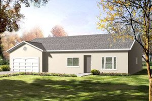 Bungalow Exterior - Front Elevation Plan #1-1412