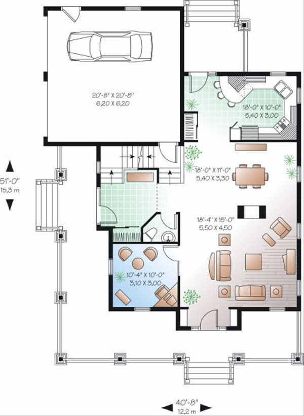 Farmhouse Floor Plan - Main Floor Plan Plan #23-840