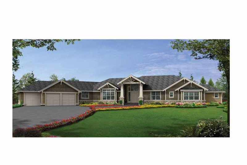 Craftsman Exterior - Front Elevation Plan #132-552 - Houseplans.com