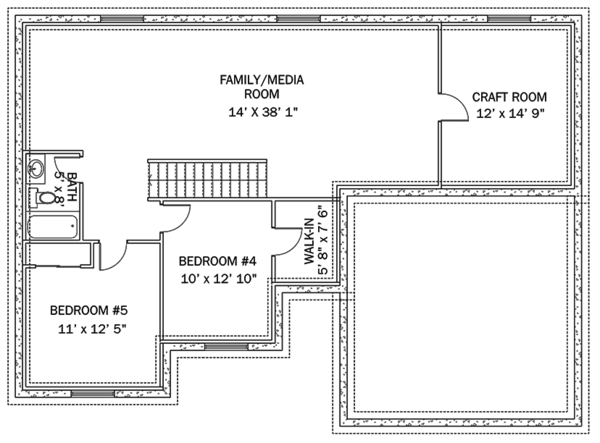 Ranch Floor Plan - Lower Floor Plan Plan #1060-36