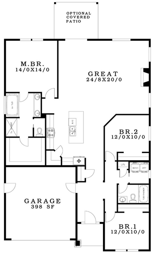 Ranch Floor Plan - Main Floor Plan Plan #943-50