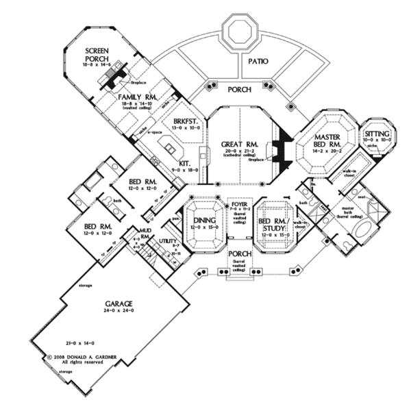 Craftsman Floor Plan - Main Floor Plan Plan #929-920