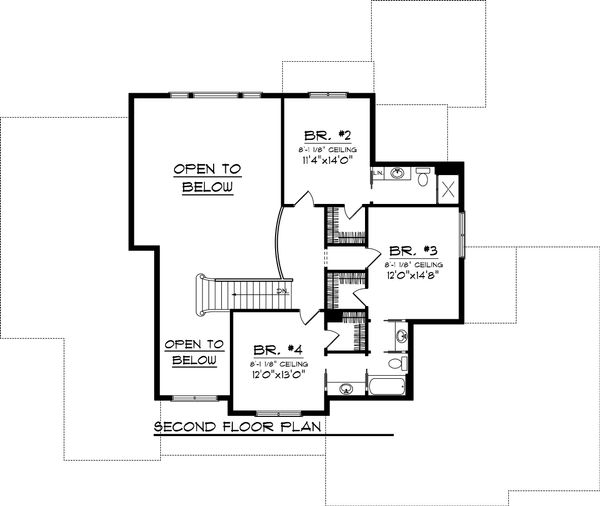 Craftsman Floor Plan - Upper Floor Plan Plan #70-1065