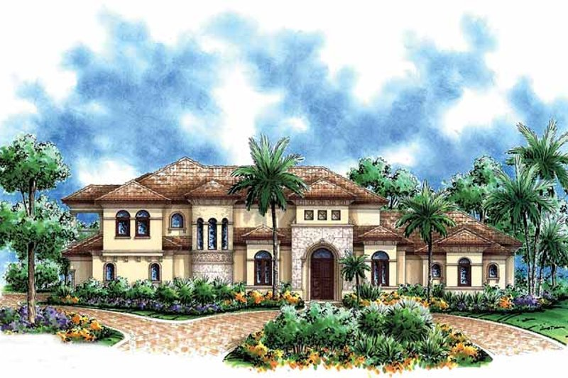 Mediterranean Exterior - Front Elevation Plan #1017-39