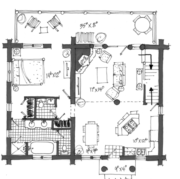 Log Floor Plan - Main Floor Plan Plan #942-23