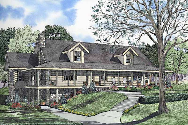 Log Exterior - Front Elevation Plan #17-3153