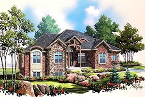 European Exterior - Front Elevation Plan #5-229