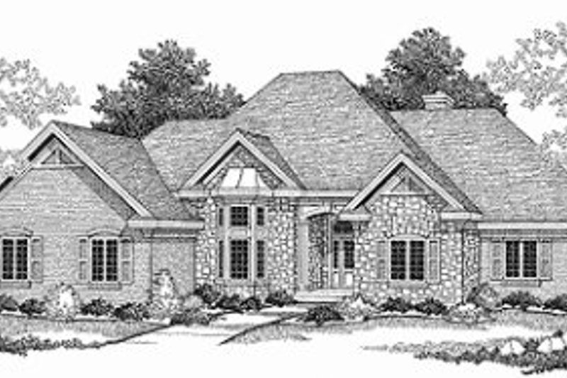Dream House Plan - European Exterior - Front Elevation Plan #70-517